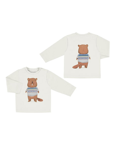 Long-Sleeve Beaver Graphic T-Shirt, Size 6-36 Months