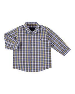 Long-Sleeve Check Poplin Shirt, Size 6-36 Months
