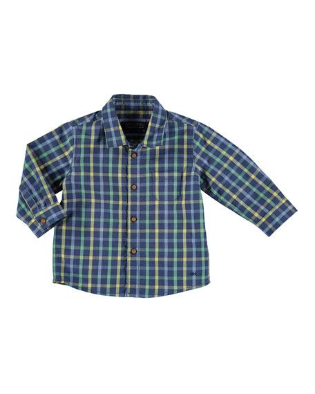 Long-Sleeve Check Poplin Shirt, Blue, Size 6-36 Months