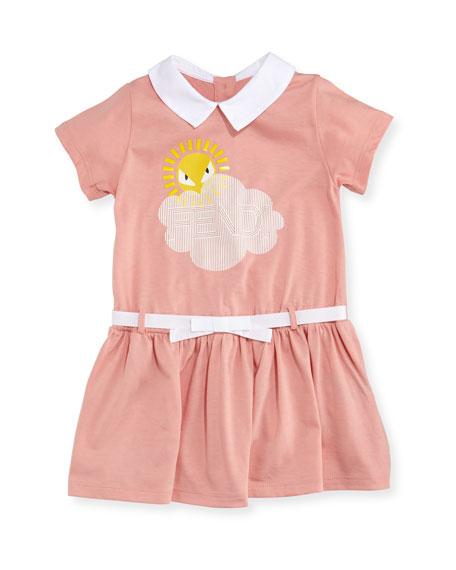 Fendi Logo Cloud Sun Graphic Dress, Size 12-24
