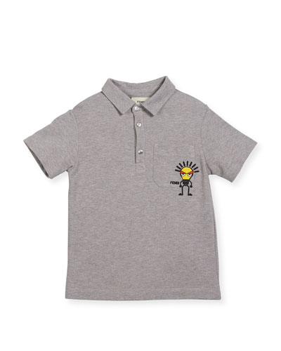 Boys' Short-Sleeve Polo with Light Bulb Detail, Size 10-14