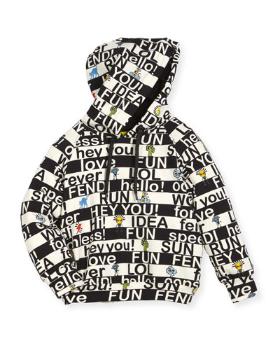 Boys' Allover Words Graphic Hooded Sweatshirt  Size 6-8