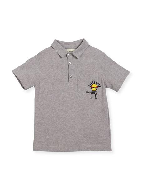 Boys' Short-Sleeve Polo with Light Bulb Detail, Size 6-8