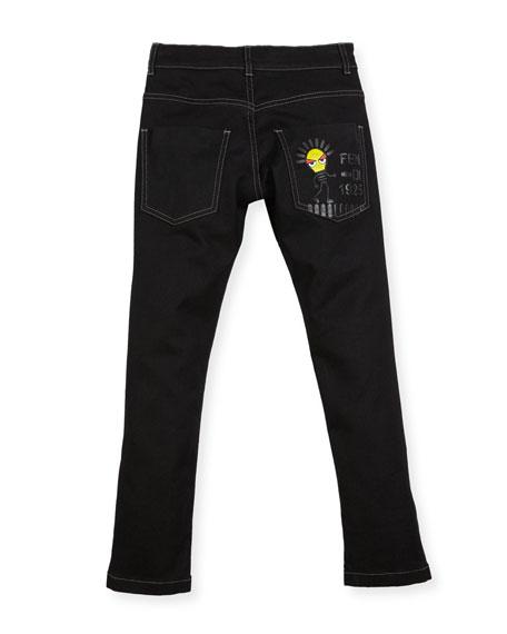 Boys' Denim Pants with Light Bulb Detail, Size 10-14