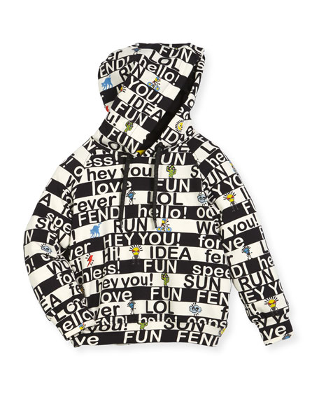 Boys' Allover Words Graphic Hooded Sweatshirt, Size 10-14