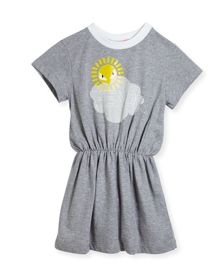 Short-Sleeve Logo Cloud Sun Graphic Dress, Size 3-5