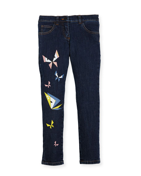 Girls' Butterfly Eyes Denim Pants, Size 10-14