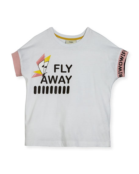 Fendi Girls' Short-Sleeve Fly Away T-Shirt, Size 10-14