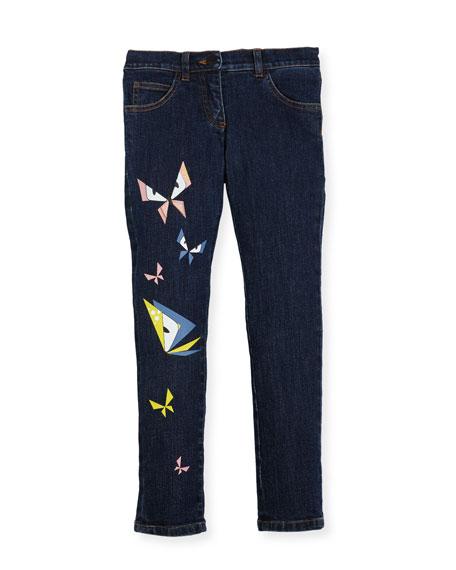 Girls' Butterfly Eyes Denim Pants, Size 6-8