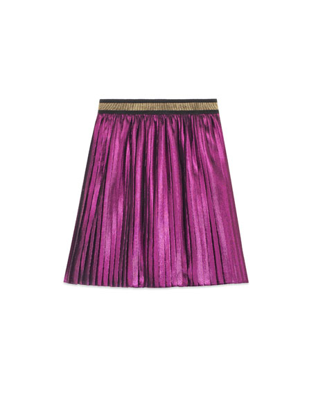 Metallic Pleated Skirt, Size 4-12