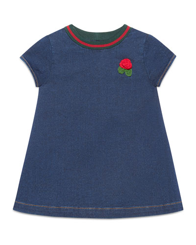 Short-Sleeve Denim Rose Dress, Size 9-36 Months