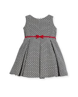 Geometric Print Dress w/ Red Trim, Size 2-6