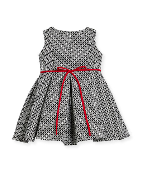Geometric Print Dress w/ Red Trim, Size 7-14