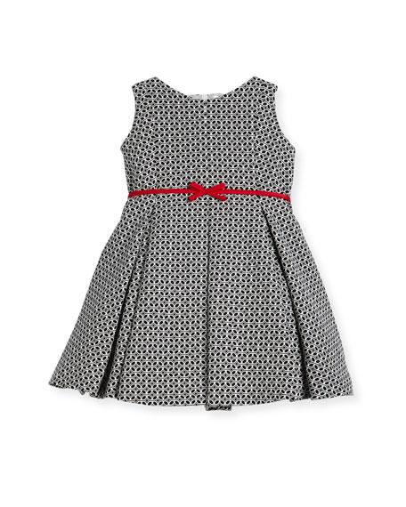 Helena Geometric Print Dress w/ Red Trim, Size