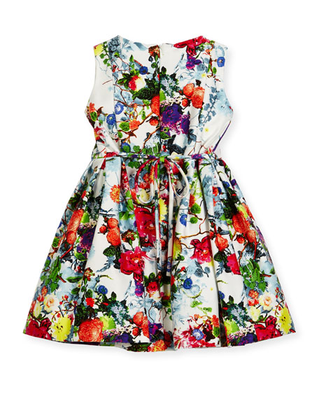 Sleeveless Pleated Floral Dress, Size 4-6