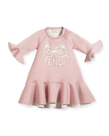 Fendi Ruffle-Hem & Bell-Sleeve Logo Dress, Size 3-5