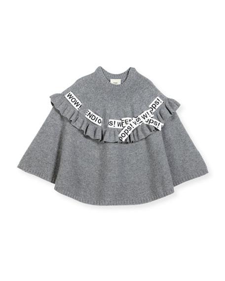 Fendi Girls' Logo Ribbon Poncho, Size M-L