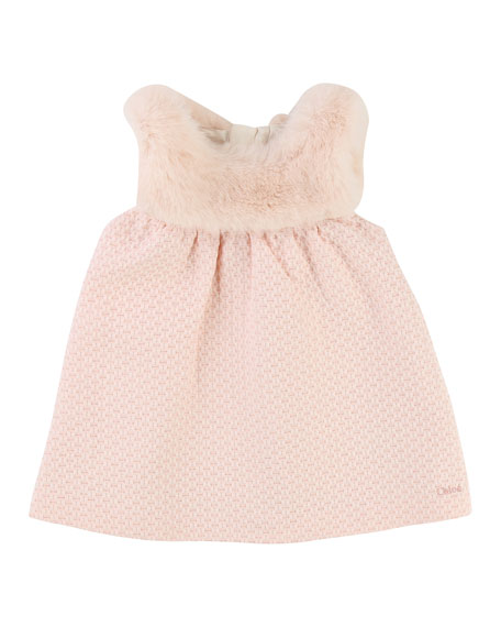 Chloe Sleeveless Faux-Fur Dress, Size 12-18 Months
