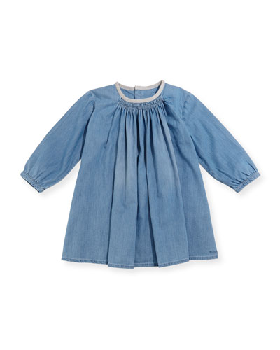 Long-Sleeve Light Denim Dress, Size 2-3