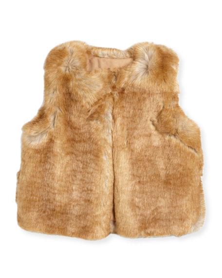 Sleeveless Faux-Fur Vest, Size 6-10
