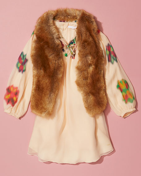 Sleeveless Faux-Fur Vest, Size 4-5
