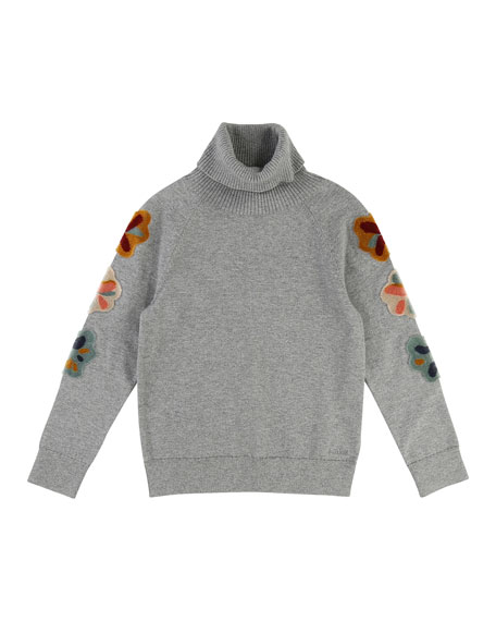 Mini Me Long-Sleeve Embroidered Turtleneck Sweater, Size 6-10