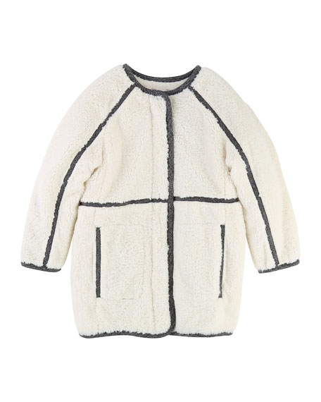 Chloe Soft Lined Coat w/ Contrast Trim, Size