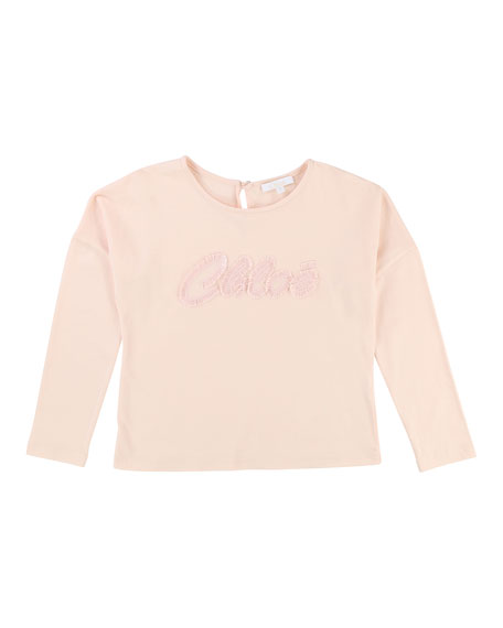Chloe Long-Sleeve Logo Embroidered T-Shirt, Size 6-10