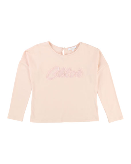 Long-Sleeve Logo Embroidered T-Shirt, Size 4-5