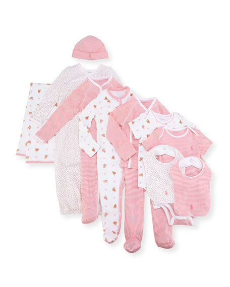 Ralph Lauren Childrenswear 11-Piece Boxed Layette Set, Pink,
