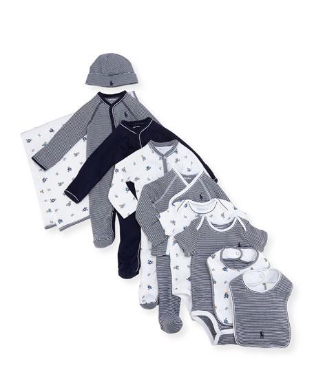 Ralph Lauren Childrenswear 11-Piece Boxed Layette Set, Blue,