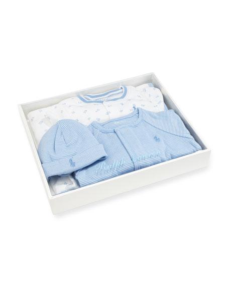 4-Piece Boxed Layette Set, Blue, Size 3-9 Months