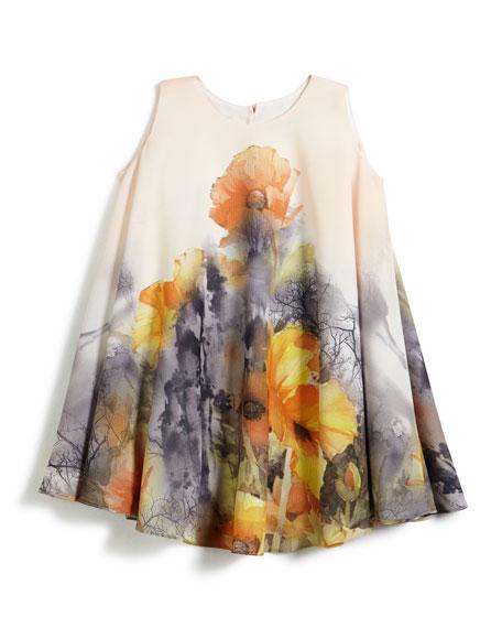 Border Floral Swing Dress, Size 2-6
