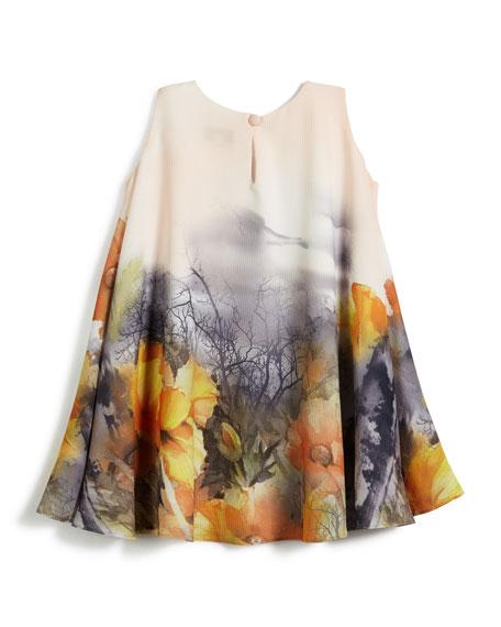 Border Floral Swing Dress, Size 7-14