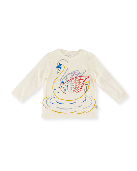 Stella McCartney Georgie Long-Sleeve Swan Tee, Size 12-36