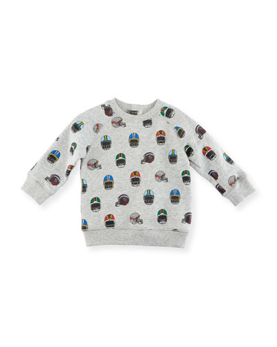 Billy Allover Helmet-Print Sweatshirt, Size 12-36 Months