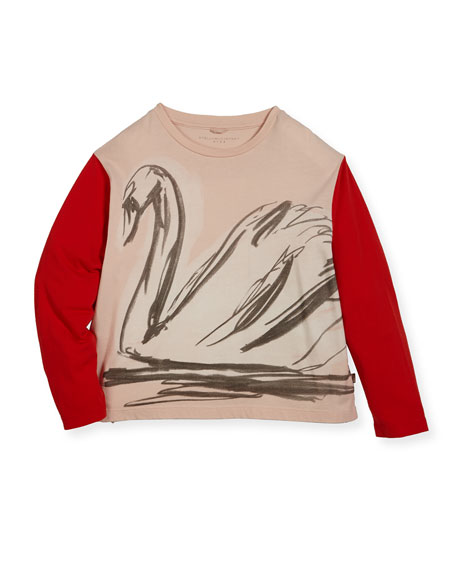 Farah Swan Sketch Tee w/ Contrast Long-Sleeves, Size 4-14
