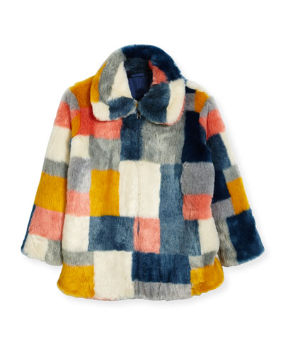 Abbie Faux-Fur Colorblock Jacket, Size 4-14