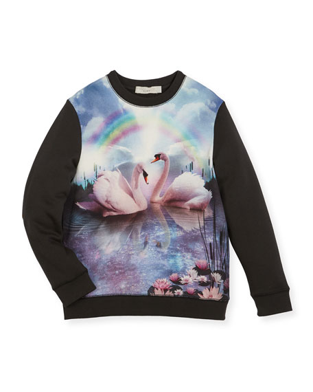 Stella McCartney Betty Rainbow & Swan Sweatshirt, Size