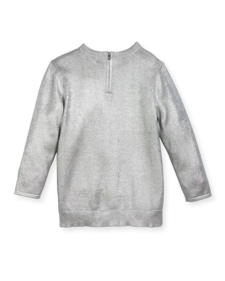 Jewel High-Low Foil Pullover Sweater, Size 4-14