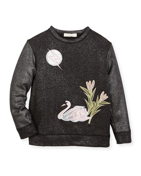 Valeria Metallic Swan Sweater, Size 4-14