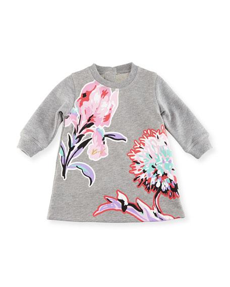 Big Flower Sweater Dress, Gray, Size 12-18M