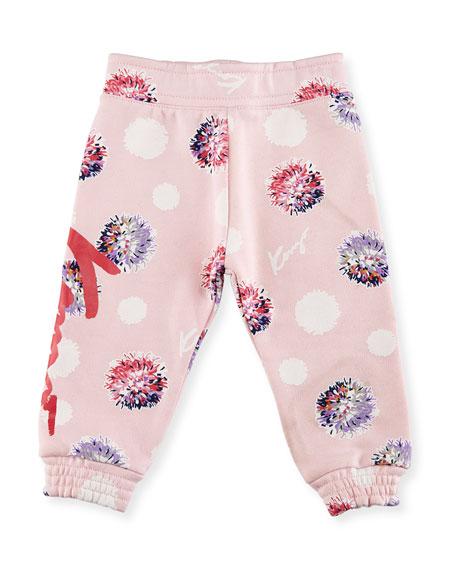 Allover Floral Sweatpants, Light Pink, Size 12-18M