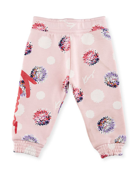 Kenzo Allover Floral Sweatpants, Light Pink, Size 2-3Y