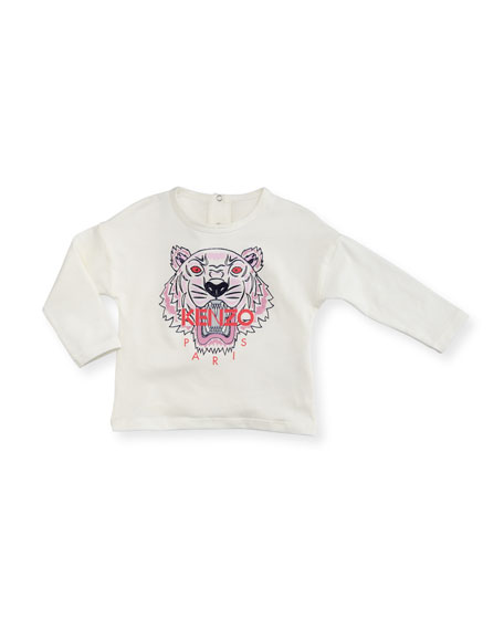 Kenzo Long-Sleeve Tiger Tee, Off White, Size 2-3