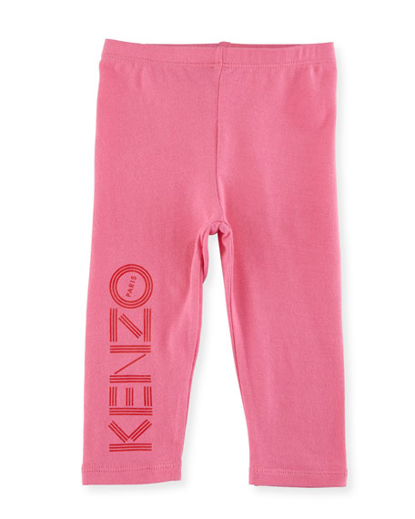 Bubble Logo Stretch Leggings, Medium Pink, Size 2-3Y