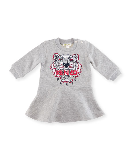 Bubble Tiger Sweater Dress, Gray, Size 2-3