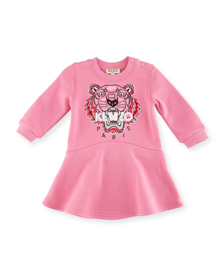 Bubble Tiger Sweater Dress, Medium Pink, Size 12-18M