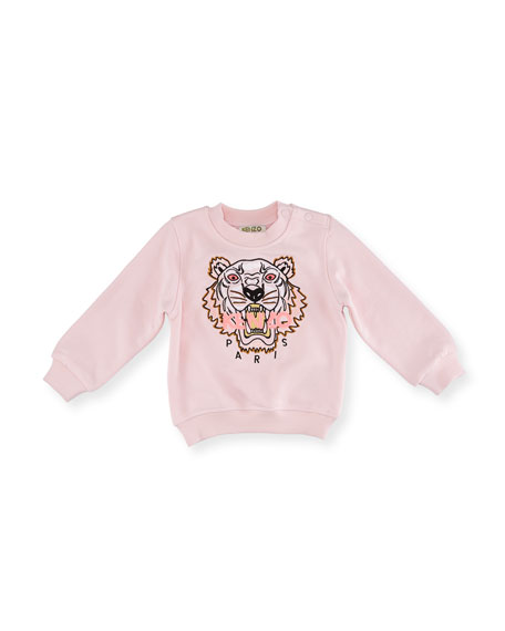 Tiger Embroidered Sweater, Light Pink, Size 12-18 Months