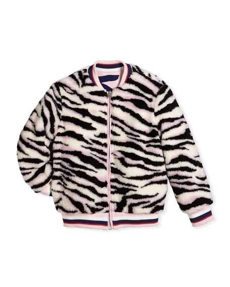 Reversible Faux-Fur Zebra Print Jacket, Size 8-12